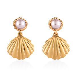 Fresh water pearl - Pink (3.75 Ct) 14K Gold Overlay Sterling Silver Earring  1.500  Ct.