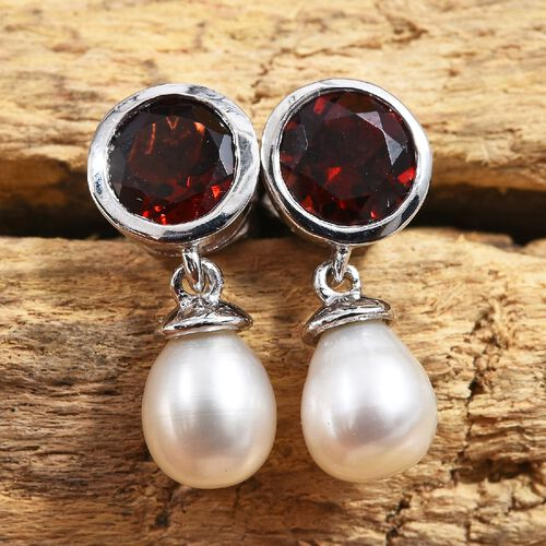 Mozambique Garnet (Rnd), Freshwater Pearl Earrings (with Push Back) in Platinum Overlay Sterling Silver 7.75 Ct.