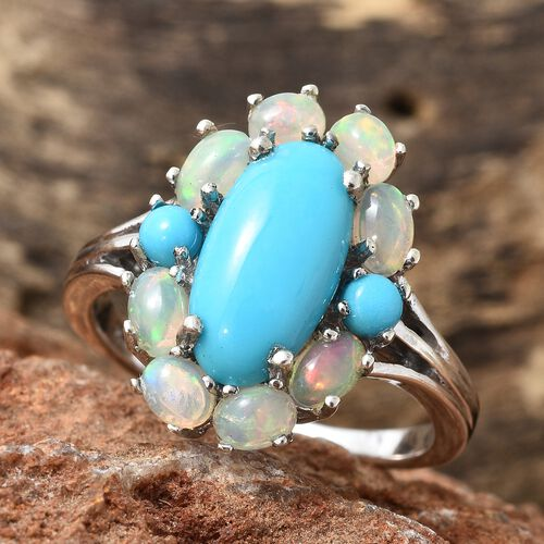 Arizona Sleeping Beauty Turquoise (Ovl 2.50 Ct), Ethiopian Welo Opal Ring in Platinum Overlay Sterling Silver 4.000 Ct.