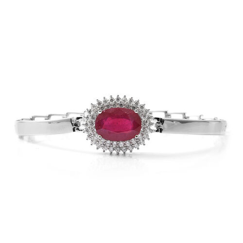 One Time Close Out Deal - African Ruby (Very Rare Size Ovl 12x10 mm), Cubic Zircon Cuff Bracelet (Size 7.5) in Rhodium Overlay Sterling Silver 8.200  Ct, Silver wt 14.97 Gms.