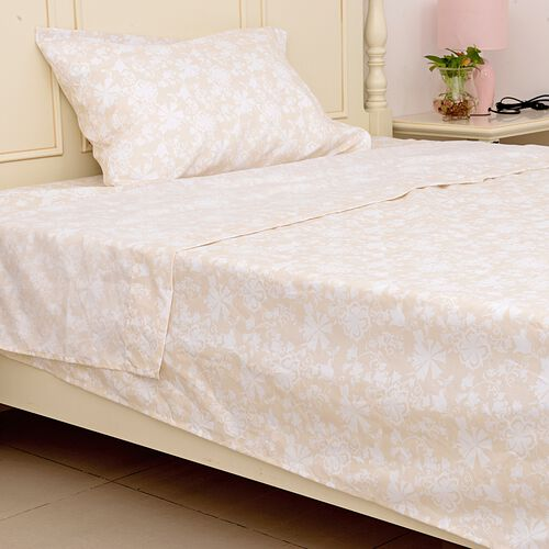 Set of 2 Beige and Cream Colour Single Size- 2 Fitted Sheet (190x90x30 Cm), 2 Flat Sheet (265x180 Cm) and 2 Pillow Case (75x50 Cm) in Damask and Embroidery Pattern