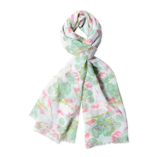 White, Green and Pink Colour Big Flower Pattern Scarf (Size 180x90 Cm)