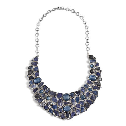 Artisan Crafted Tanzanite, Himalayan Kyanite Necklace (Size 20) in Sterling Silver 380.00 Ct, Silver