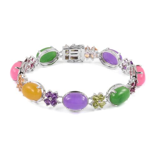 Yellow, Pink, Purple and Multi Colour Jade and Multi Gemstone Bracelet (Size 6.75) in Rhodium Plated Sterling Silver 50.680 Ct. Silver wt 13.50 Gms.