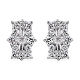 RHAPSODY 950 Platinum IGI Certified Diamond (Rnd) (VS/E-F) Boat Cluster Earrings (With Screw Back) 0.500 Ct.