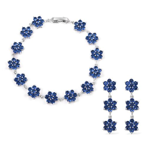 2 Piece Set - Simulated Blue Sapphire (Rnd) Floral Bracelet (Size 7.50) and Earrings in Silver Plate