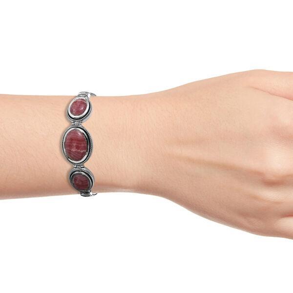 Argentinian Rhodochrosite (Ovl) Bracelet (Size 7.5) in Sterling Silver 24.00 Ct, Silver wt 18.60 Gms