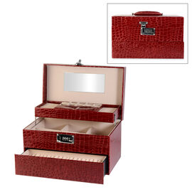 Three Layer Crocodile Skin Pattern Jewellery Box with Inside Mirror and Coded Lock (Size 33x21x21cm)