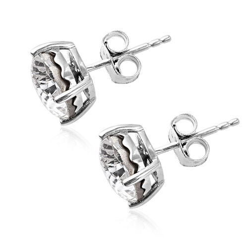 J Francis Crystal from Swarovski White Colour Crystal Earrings (with Push Back) in Platinum Overlay Sterling Silver