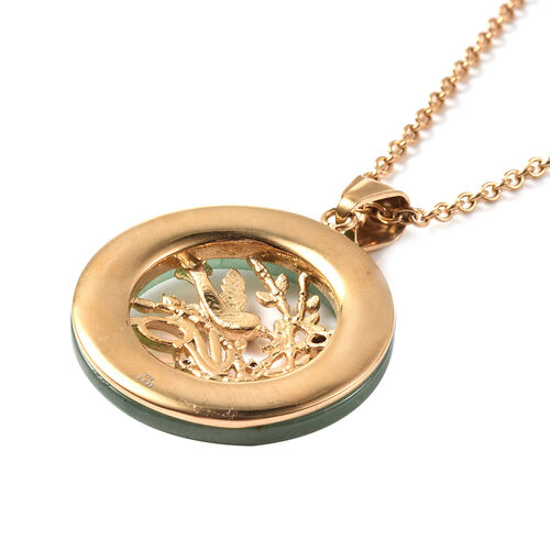 Green Aventurine, Opalite and Multi Colour Austrian Crystal Bird Circle Pendant with Chain ( Size 20) in Yellow Gold Tone 20.10 Ct.