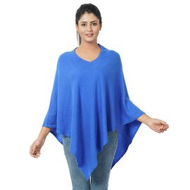 Limited Available - 100% Cashmere Pashmina Wool Poncho - Classic Blue Colour (Free Size 70x70Cm)