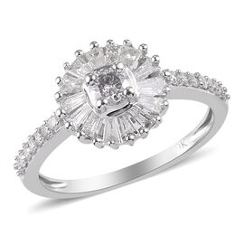 9K White Gold SGL Certified Natural Diamond (I3/G-H) Ring 1.000  Ct.