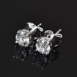 J Francis Sterling Silver Earrings (with Push Back) Made with SWAROVSKI ZIRCONIA 1.75 Ct