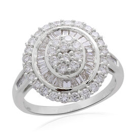 ILIANA 18K White Gold Diamond (Bgt and Rnd) Ring 2.000 Ct, Gold wt 7.52 Gms.