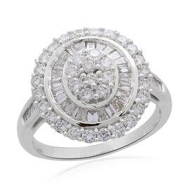 ILIANA 18K White Gold Diamond (Bgt and Rnd) Ring 2.000 Ct, Gold wt 7.52 Gms.