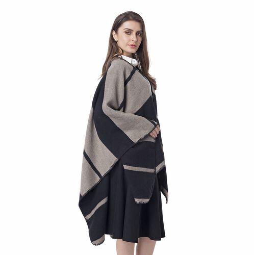 Black and Grey Colour Big Stripe Pattern Blanket Kimono (Size 130x70 Cm)