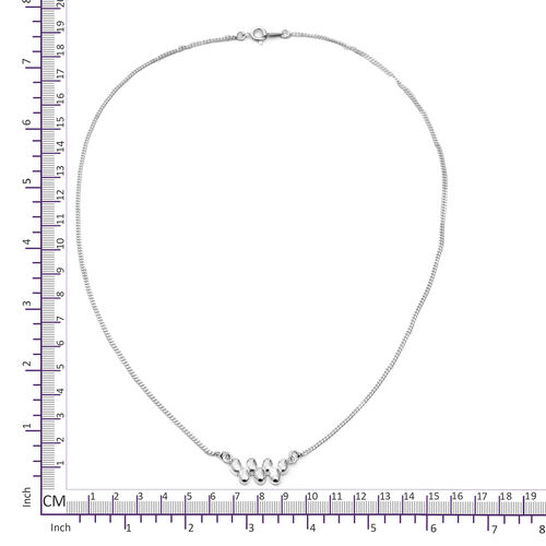 Designer Inspired High Polished Sterling Silver Necklace (Size 18), Silver wt 5.60 Gms.
