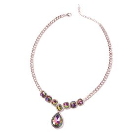 Simulated Mystic Topaz Statement Necklace in Rose Tone