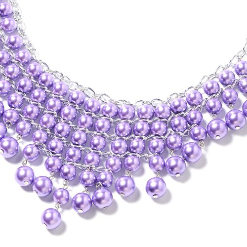 Simulated Purple Pearl (Rnd) Beads Waterfall Necklace, Hook Earrings and Bracelet  in Silver Bond.