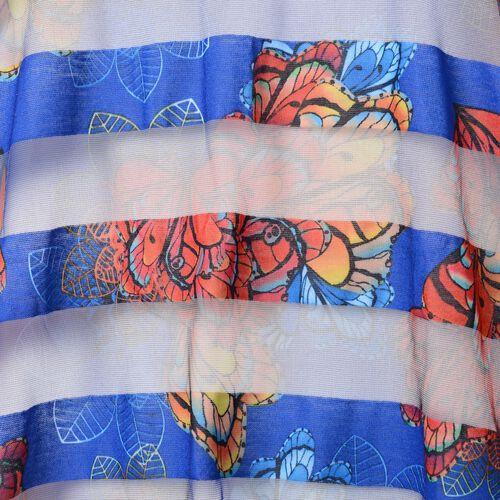 Blue, Yellow, Orange and Multi Colour Flower and Transparent Stripe Pattern Vest (Size 75x65 Cm)