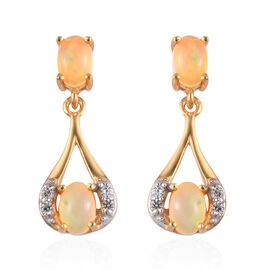 Ethiopian Welo Opal and Natural Cambodian Zircon Dangling Earrings (with Push Back) in 14K Gold Over