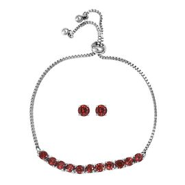 2 Piece Set - Mozambique Garnet (Rnd) Bolo Bracelet (Size 6.5-9.5 Adjustable) and Stud Earrings (wit