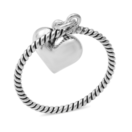 Sterling Silver Twisted Heart Charm Ring