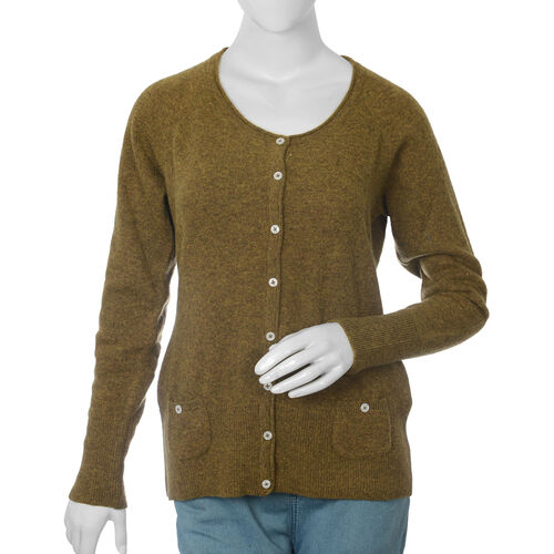 80% Lambs Wool Olive Colour Cardigan ( UK Size-20, 62x52 cm)