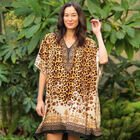 Winlar Short V-Neck Black and Orange Leopard Print Kaftan (Free Size)