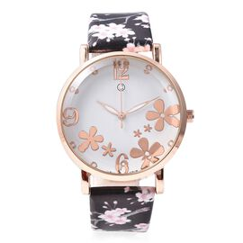 STRADA Japanese Movement Water Resistance Floral Motif Adorned Watch - Black and White