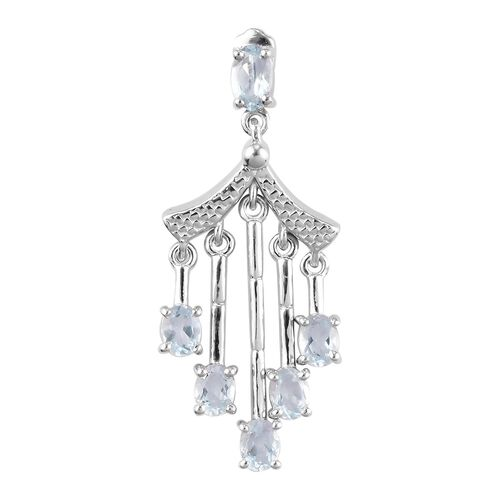 Santa Teresa Aquamarine Chandelier Pendant in Platinum Overlay Sterling Silver 0.92 Ct.