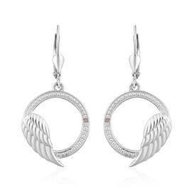 Diamond Angel Wing Lever Back Earrings in Sterling Silver
