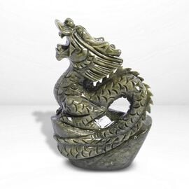 Handcrafted Jade Decorative Standing Dragon Figurine (Size 10 x 27 Cm)