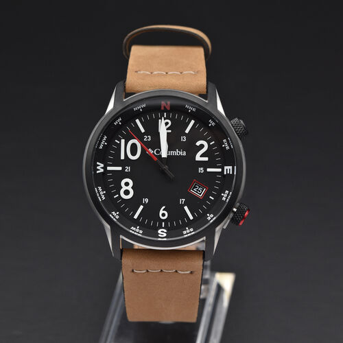 Columbia Outbacker Black 3-Hand Date Camel Leather Watch
