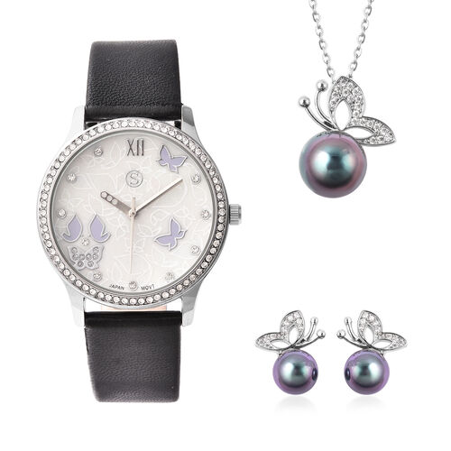 3 Piece Set - Simulated Diamond, Tahitian Shell Pearl and White Austrian Crystal Butterfly Watch wit