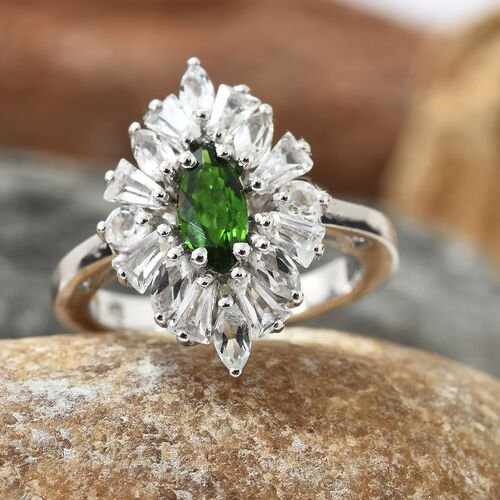 Russian Diopside (Mrq), White Topaz Ring in Platinum Overlay Sterling Silver 2.250 Ct.