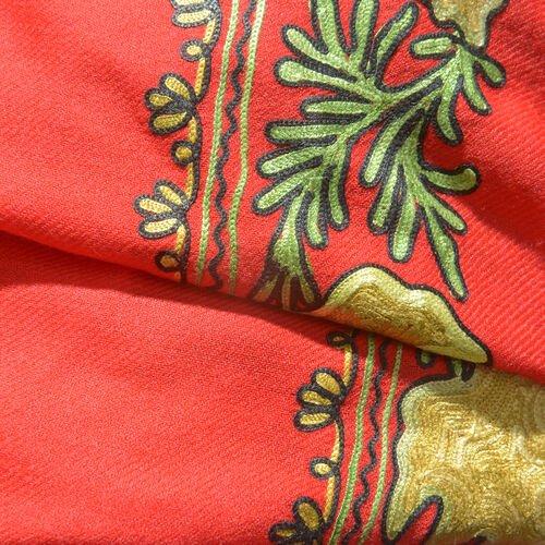 One Time Deal-100% Merino Wool True Red, Yellow and Multi Colour Embroidered Shawl with Tassels (Size 180X70 Cm)