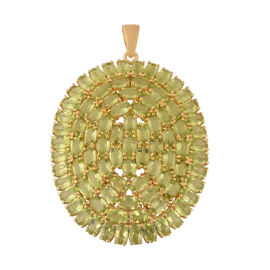 Cocktail Collection-Hebei Peridot Pendant in Yellow Gold Overlay Sterling Silver 19.98 Ct, Silver wt