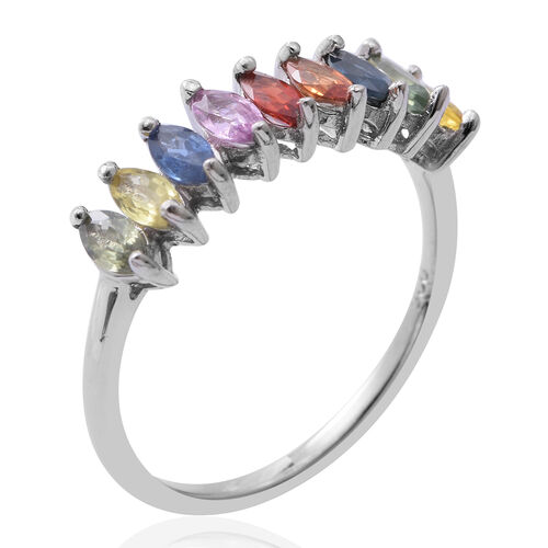 Rainbow Sapphire (Mrq) Ring in Rhodium Plated Sterling Silver 1.750 Ct.