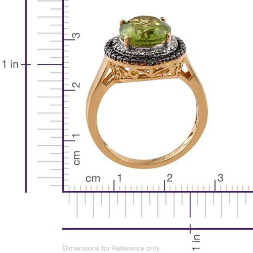 Limited Edition Design - AAA Hebei Peridot (Ovl), Green and White Diamond Ring in Platinum and Yellow Gold Overlay Sterling Silver 3.750 Ct.
