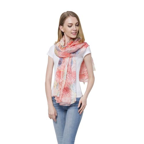 100% Mulberry Silk Red, Blue and Multi Colour Splendid Floral Pattern Light Pink Colour Scarf (Size 175x110 Cm)