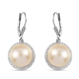 South Sea Pearl with Natural Cambodian White Zircon Lever Back Earrings in Platinum Overlay Sterling