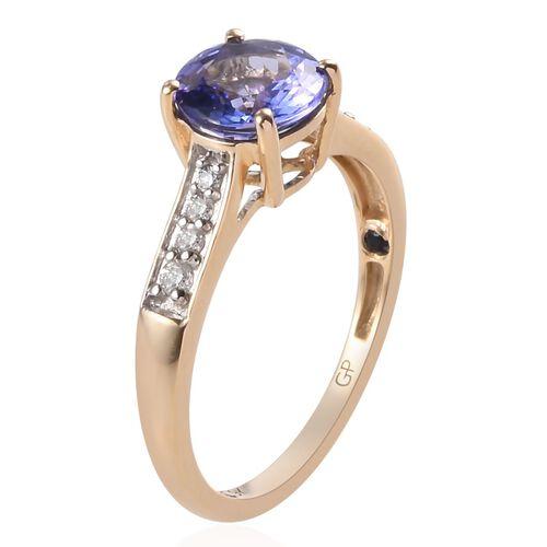 GP - 9K Yellow Gold Tanzanite, Natural Diamond and Blue Sapphire Ring 1.665 Ct.