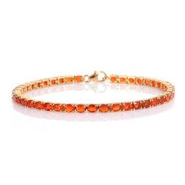 Jalisco Fire Opal (Ovl) Bracelet (Size 7.25) in Rhodium Overlay Sterling Silver 4.313 Ct, Silver wt