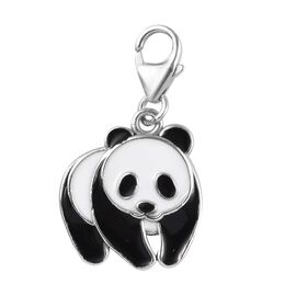 Platinum Overlay Sterling Silver Enamelled Panda Charm