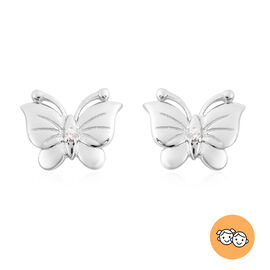 RACHEL GALLEY - Natural Cambodian Zircon Butterfly Earrings (with Push Back) in Rhodium Overlay Ster