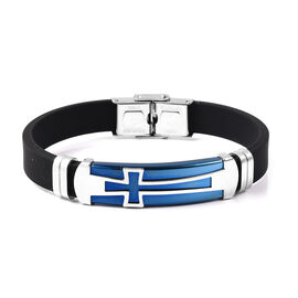 Mens Adjustable Bracelet with Blue Plated Cross in Stainless Steel Cross Blue 8 Inch