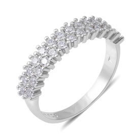 ELANZA Simulated Diamond (Rnd) Ring in Rhodium Overlay Sterling Silver 1.50 Ct.