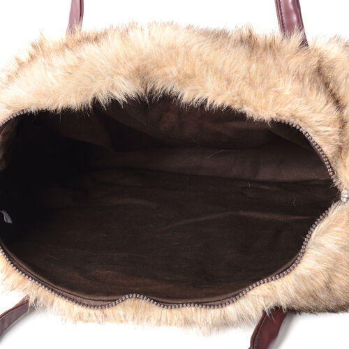 Luxurious Super Soft Faux Fur Large Tote Handbag with Cotton Twill Lining (Size 40x30x15 cm) Brown and Black Colour