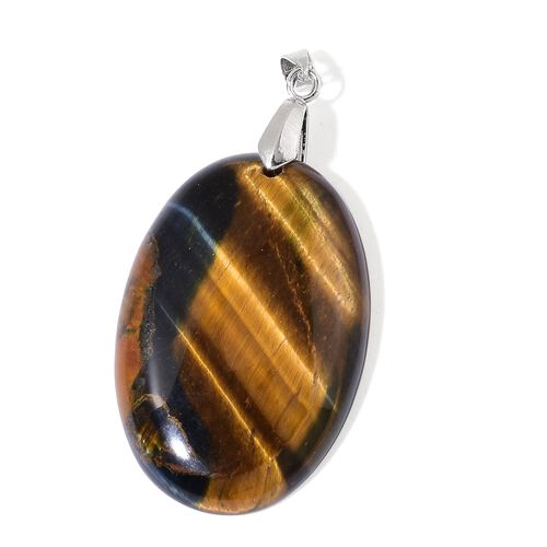 Tigers Eye Oval Pendant in Rhodium Plated Sterling Silver 94.000 Ct.